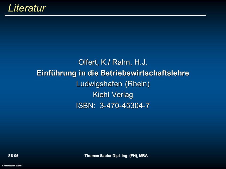Literatur Olfert, K./ Rahn, H.J.