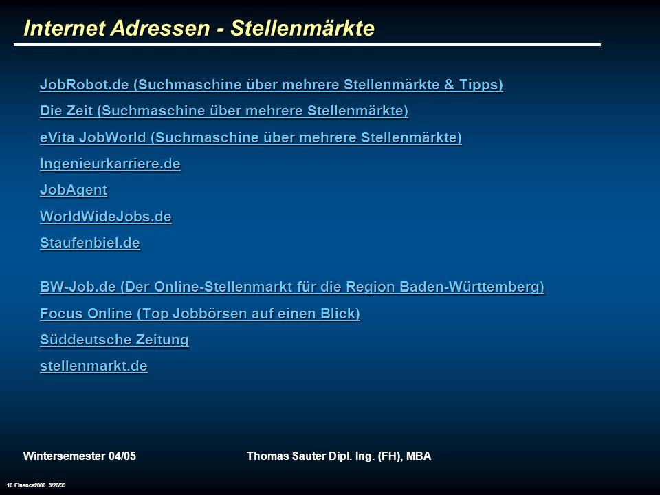 Internet Adressen - Stellenmärkte