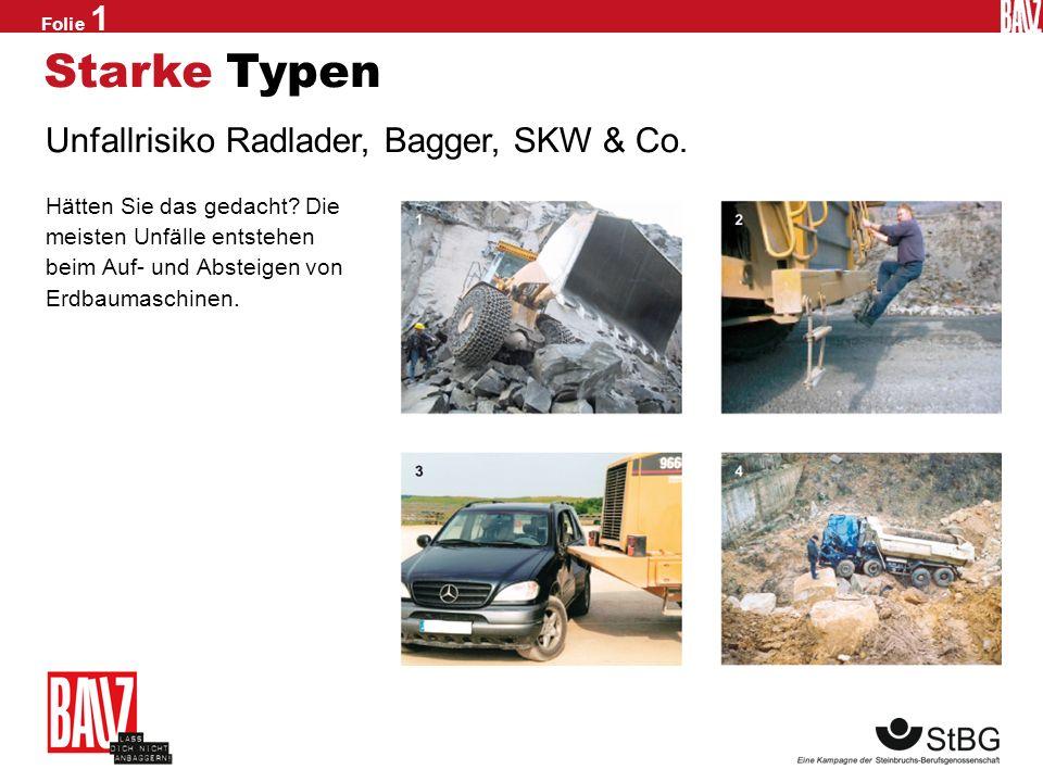 Starke Typen Unfallrisiko Radlader, Bagger, SKW & Co.