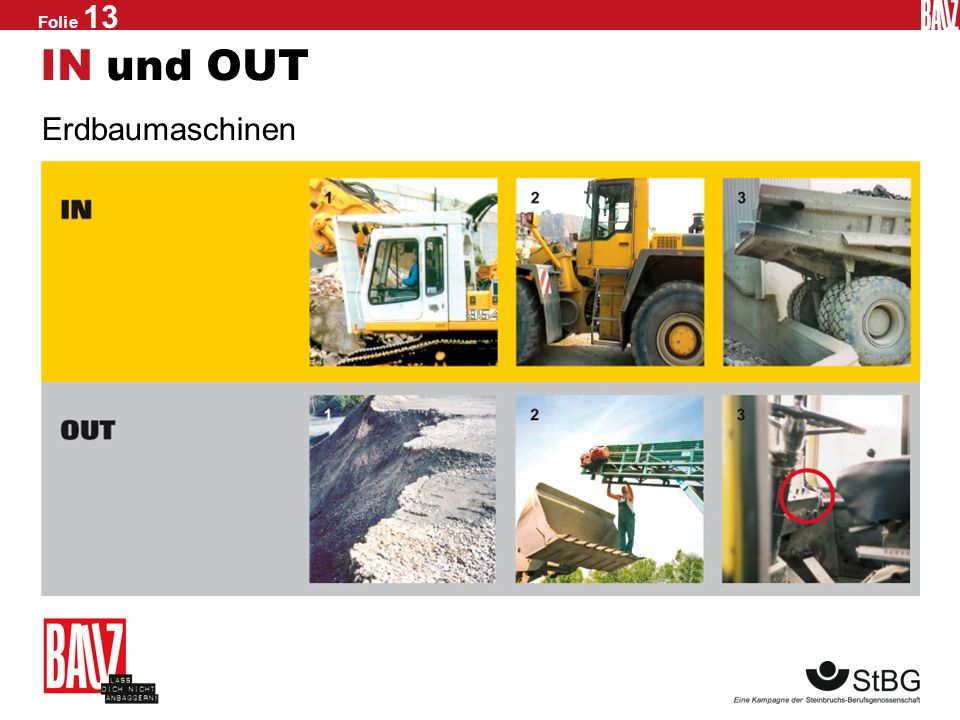 IN und OUT Erdbaumaschinen