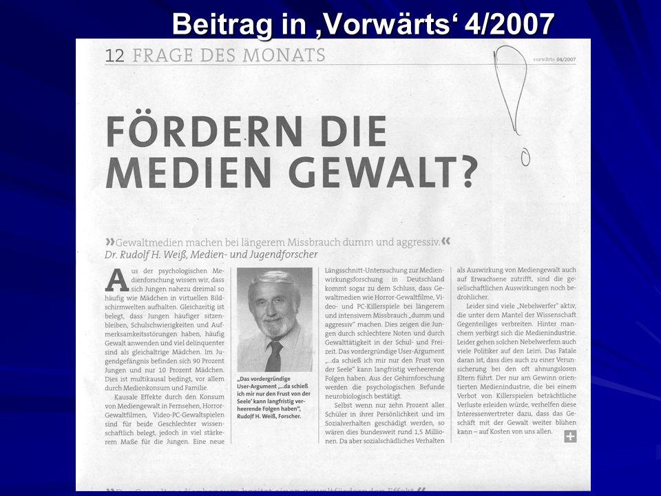 Beitrag in 'Vorwärts' 4/2007