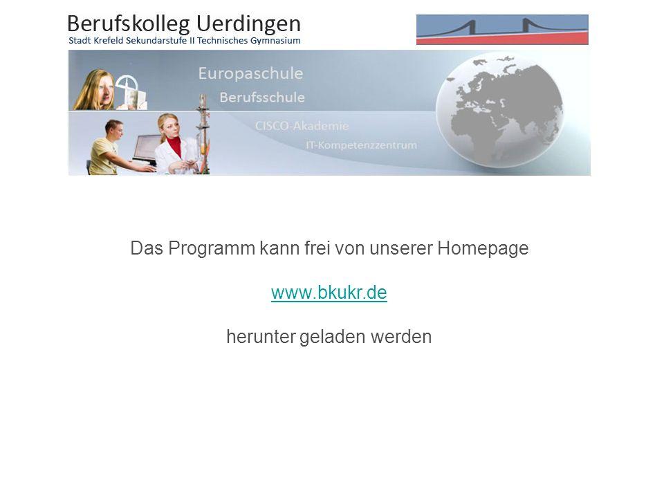Das Programm kann frei von unserer Homepage www.bkukr.de