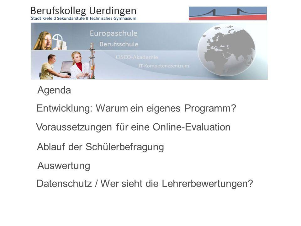 Agenda Entwicklung: Warum ein eigenes Programm Voraussetzungen für eine Online-Evaluation. Ablauf der Schülerbefragung.