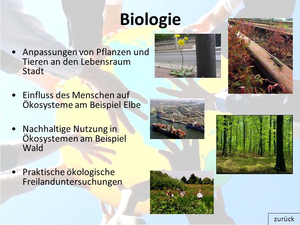Biologie Anpassungen von Pflanzen und Tieren an den Lebensraum Stadt
