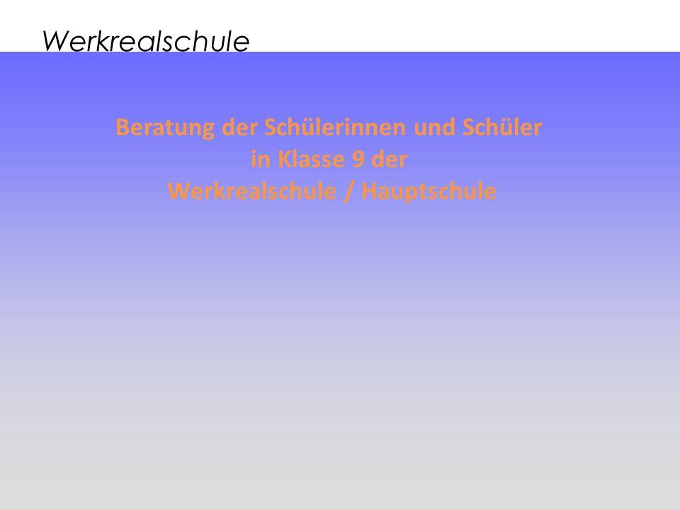 Beratung der Schülerinnen und Schüler Werkrealschule / Hauptschule