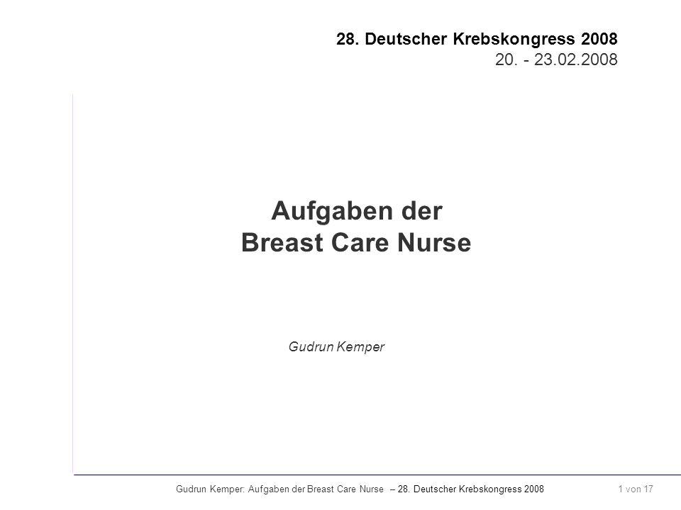 Aufgaben der Breast Care Nurse