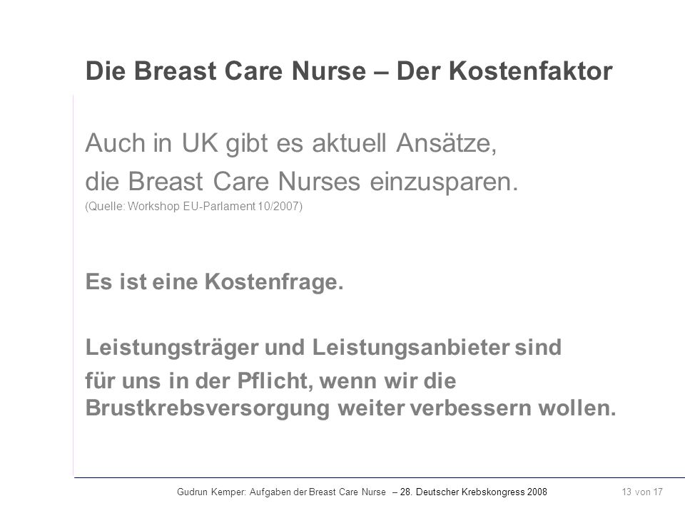 Die Breast Care Nurse – Der Kostenfaktor