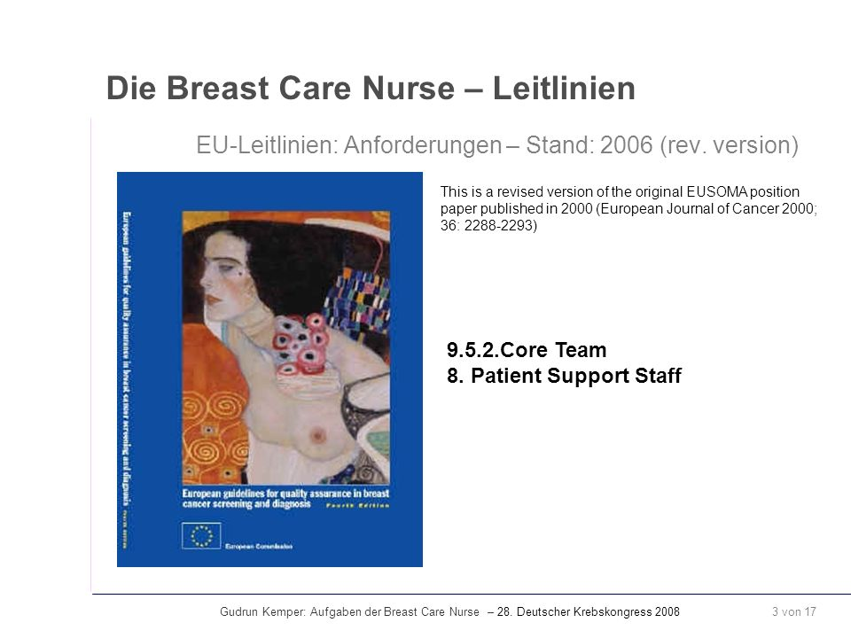 Die Breast Care Nurse – Leitlinien