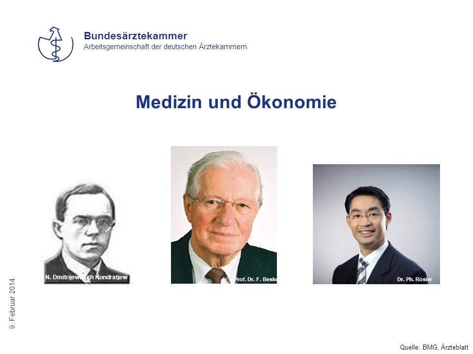Medizin und Ökonomie Dr. Philipp Rösler Quelle: BMG, Ärzteblatt