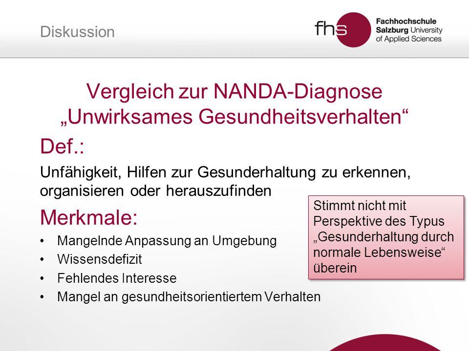 """Vergleich zur NANDA-Diagnose """"Unwirksames Gesundheitsverhalten"""