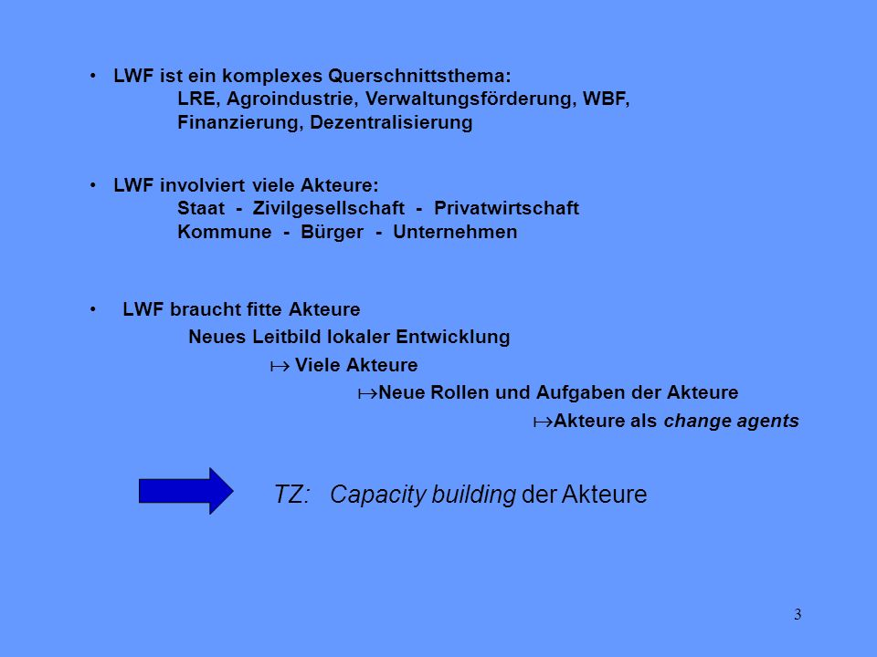 TZ: Capacity building der Akteure