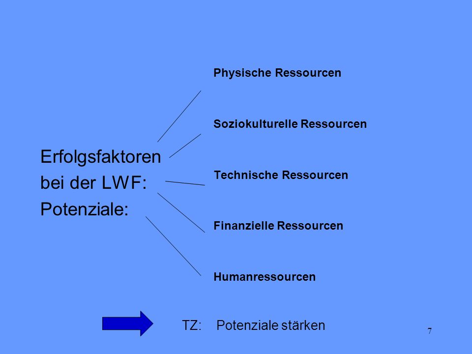 Erfolgsfaktoren bei der LWF: Potenziale: TZ: Potenziale stärken