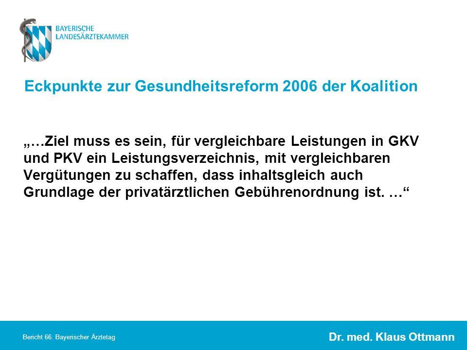 Eckpunkte zur Gesundheitsreform 2006 der Koalition