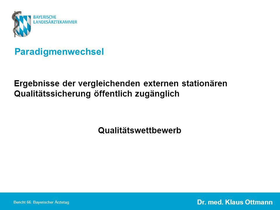Paradigmenwechsel Ergebnisse der vergleichenden externen stationären Qualitätssicherung öffentlich zugänglich.