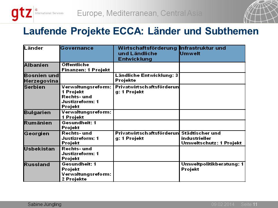 Laufende Projekte ECCA: Länder und Subthemen