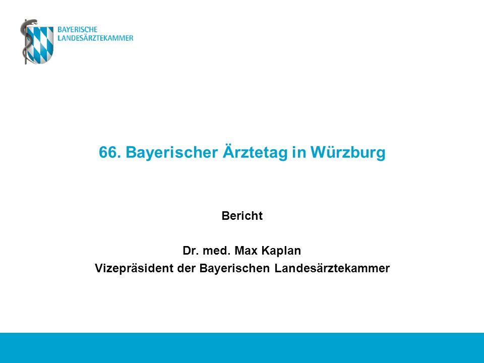 66. Bayerischer Ärztetag in Würzburg