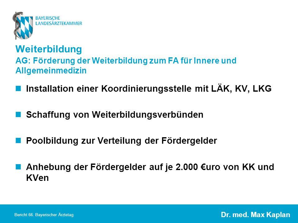 Weiterbildung Installation einer Koordinierungsstelle mit LÄK, KV, LKG