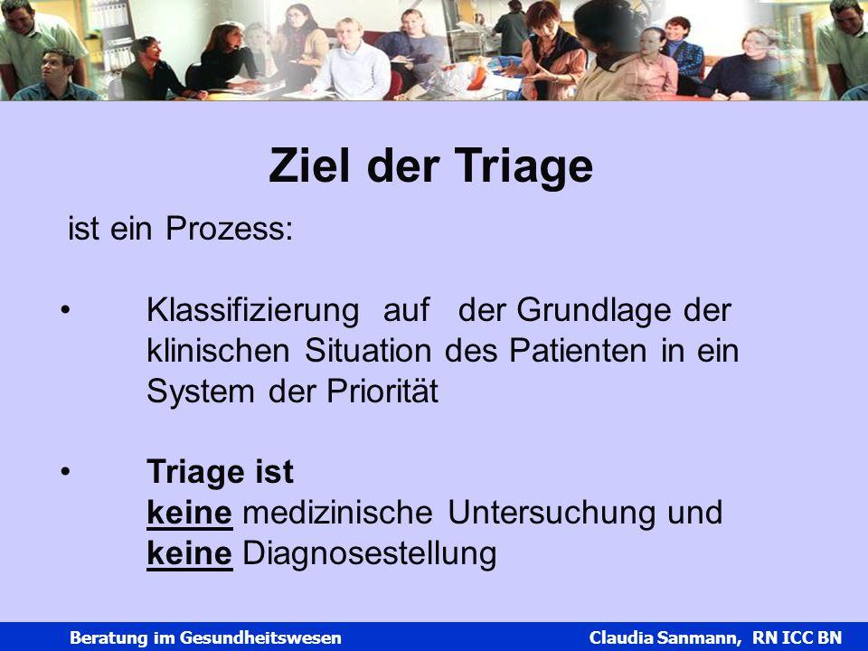Ziel der Triage ist ein Prozess: Klassifizierung auf der Grundlage der klinischen Situation des Patienten in ein System der Priorität.