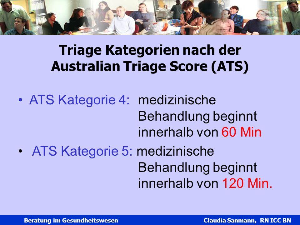Triage Kategorien nach der Australian Triage Score (ATS)