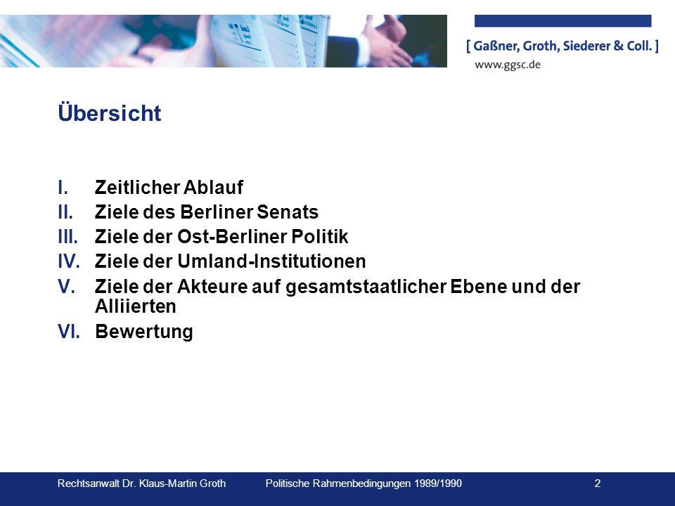 Übersicht Zeitlicher Ablauf Ziele des Berliner Senats