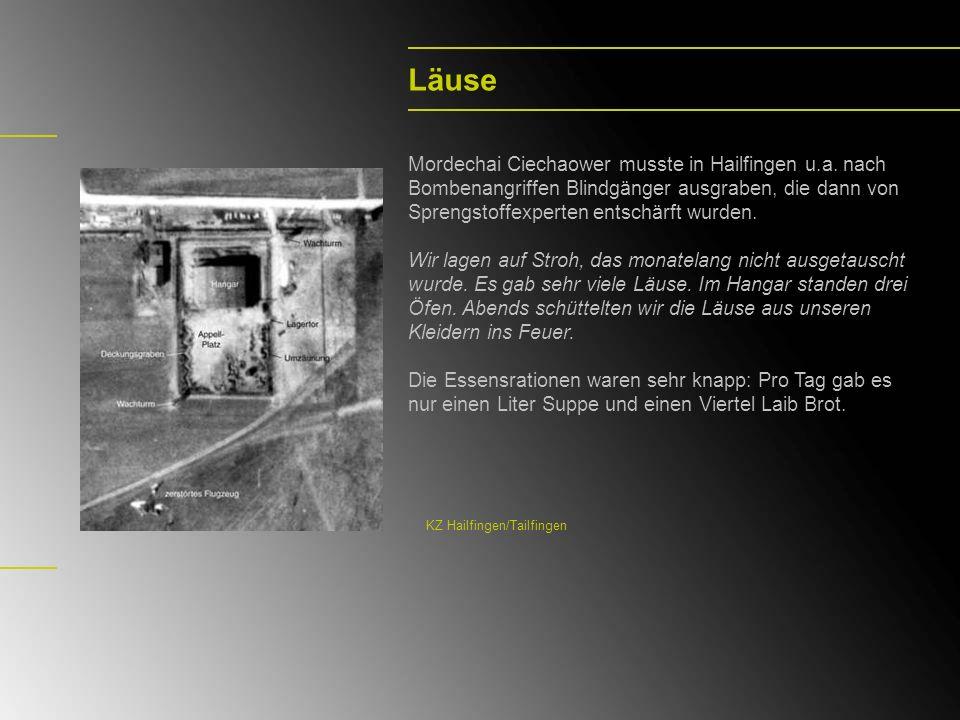 Läuse Mordechai Ciechaower musste in Hailfingen u.a. nach Bombenangriffen Blindgänger ausgraben, die dann von Sprengstoffexperten entschärft wurden.