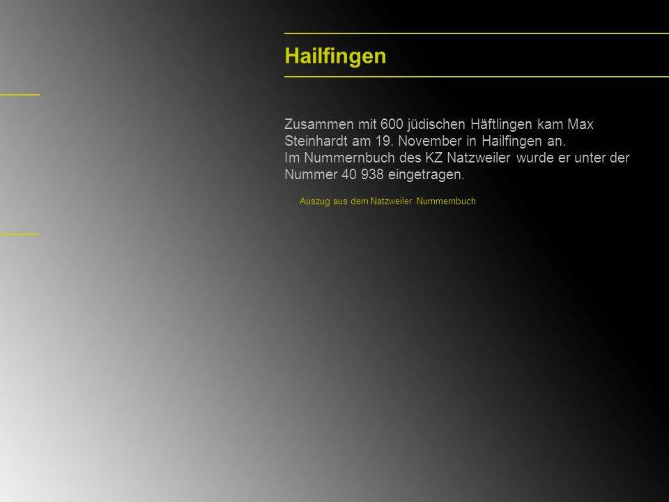 Hailfingen Zusammen mit 600 jüdischen Häftlingen kam Max Steinhardt am 19. November in Hailfingen an.