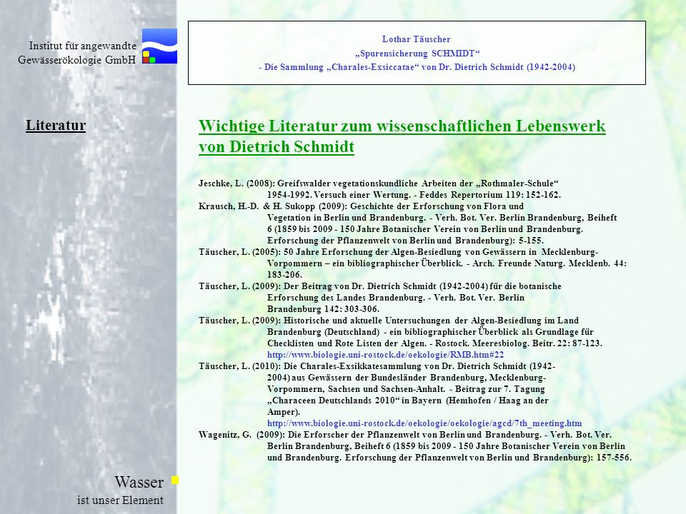 Wichtige Literatur zum wissenschaftlichen Lebenswerk