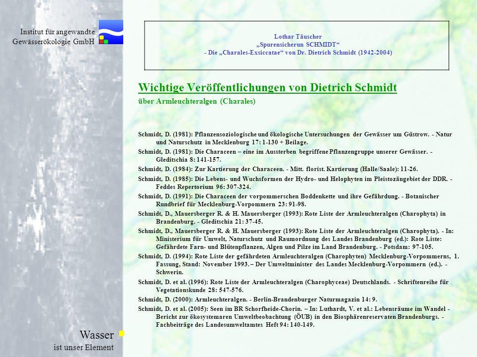 Wichtige Veröffentlichungen von Dietrich Schmidt