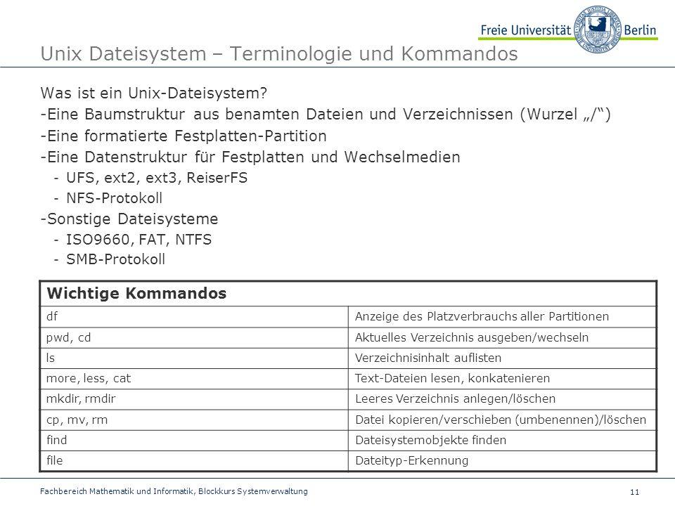 Unix Dateisystem – Terminologie und Kommandos