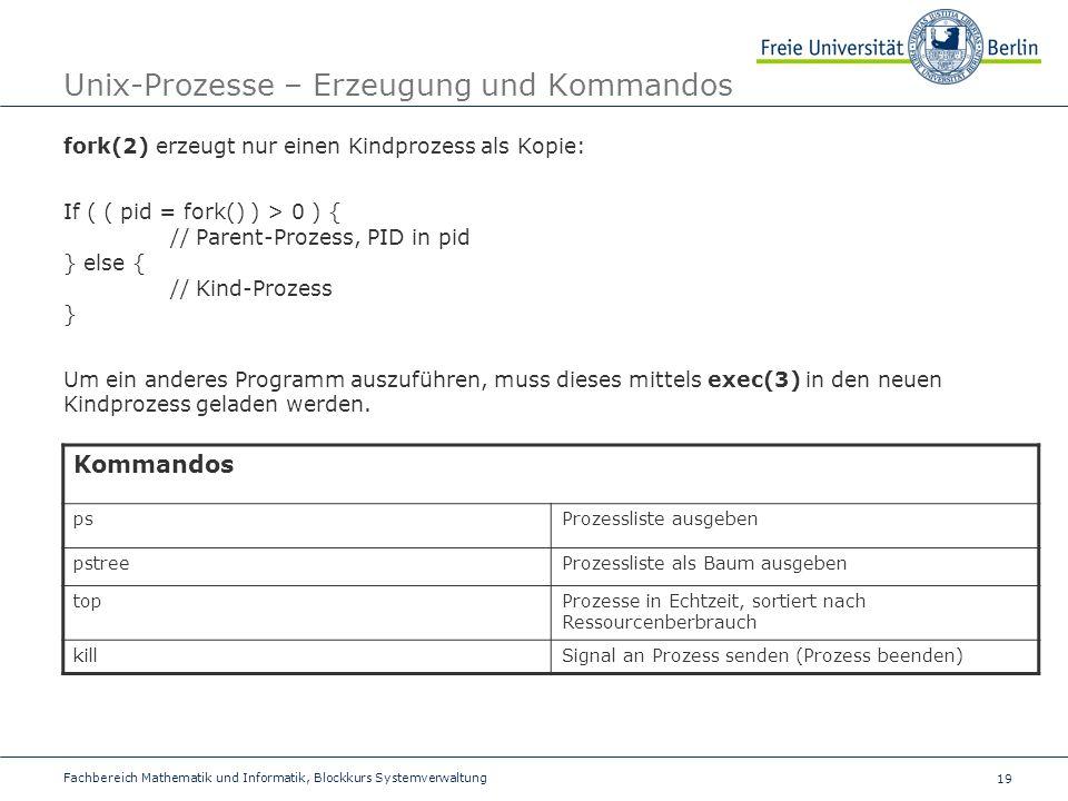 Unix-Prozesse – Erzeugung und Kommandos