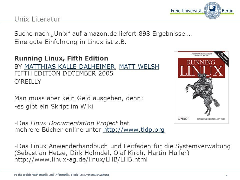 """Unix Literatur Suche nach """"Unix auf amazon.de liefert 898 Ergebnisse … Eine gute Einführung in Linux ist z.B."""