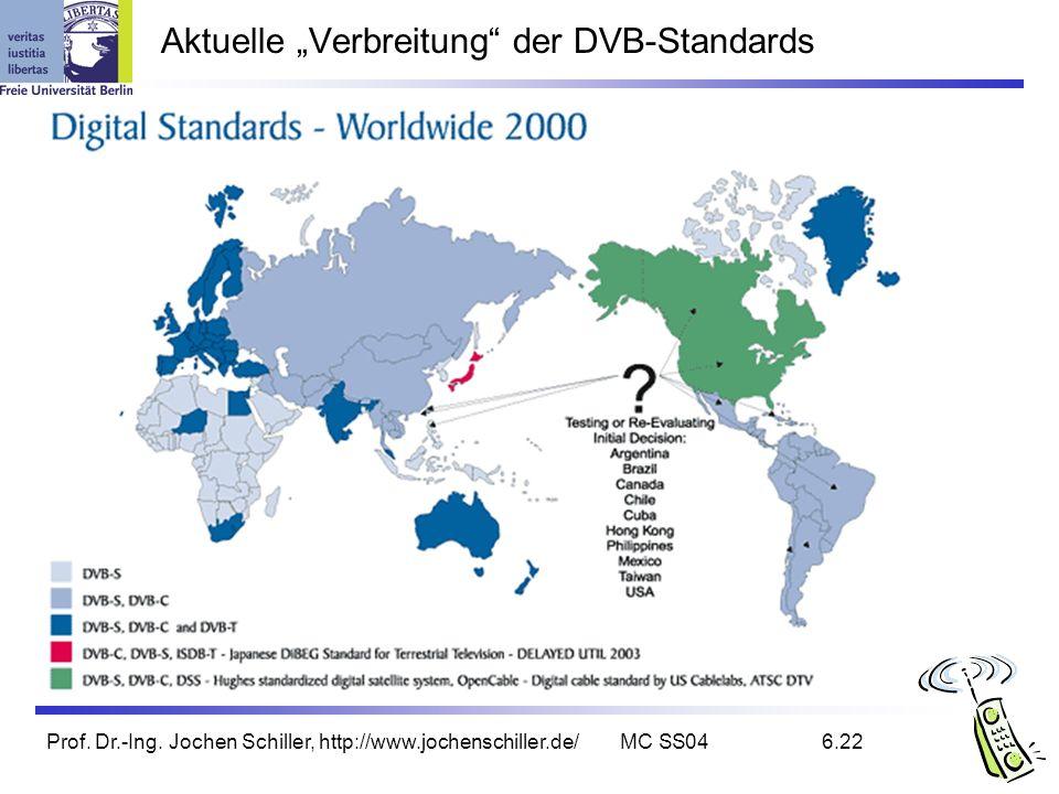 """Aktuelle """"Verbreitung der DVB-Standards"""