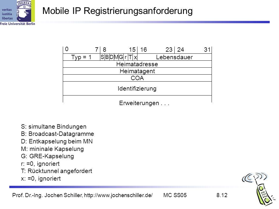 Mobile IP Registrierungsanforderung