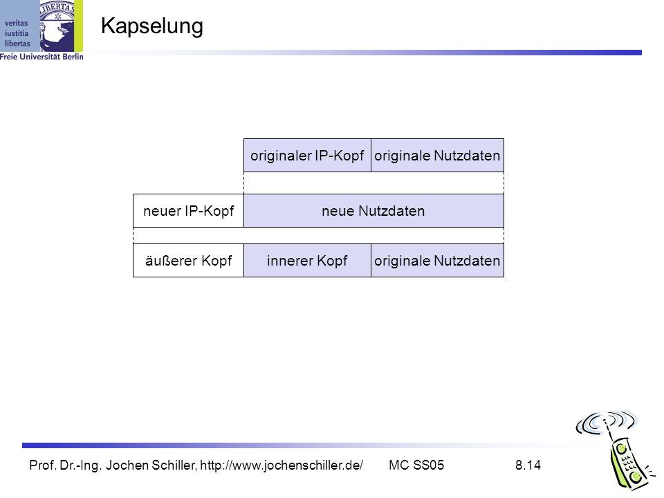 Kapselung originaler IP-Kopf originale Nutzdaten neuer IP-Kopf