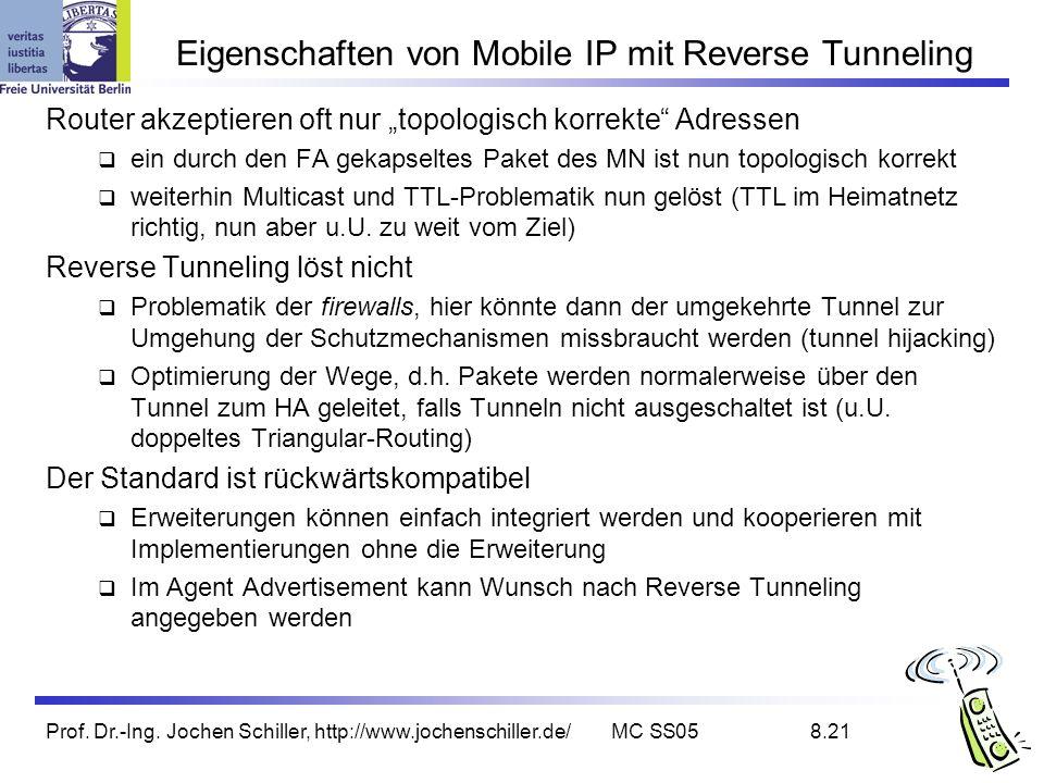 Eigenschaften von Mobile IP mit Reverse Tunneling