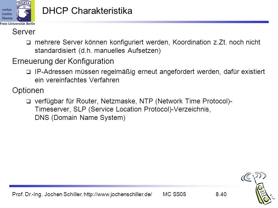 DHCP Charakteristika Server Erneuerung der Konfiguration Optionen