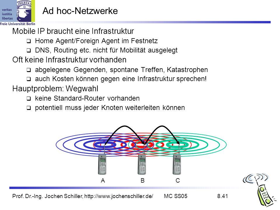Ad hoc-Netzwerke Mobile IP braucht eine Infrastruktur
