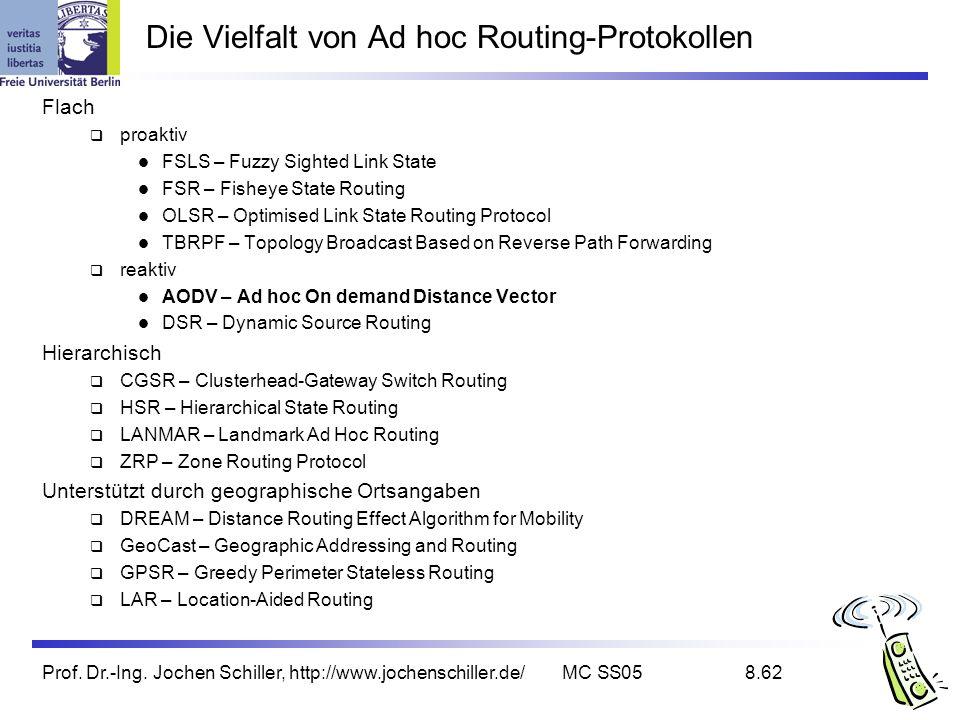 Die Vielfalt von Ad hoc Routing-Protokollen