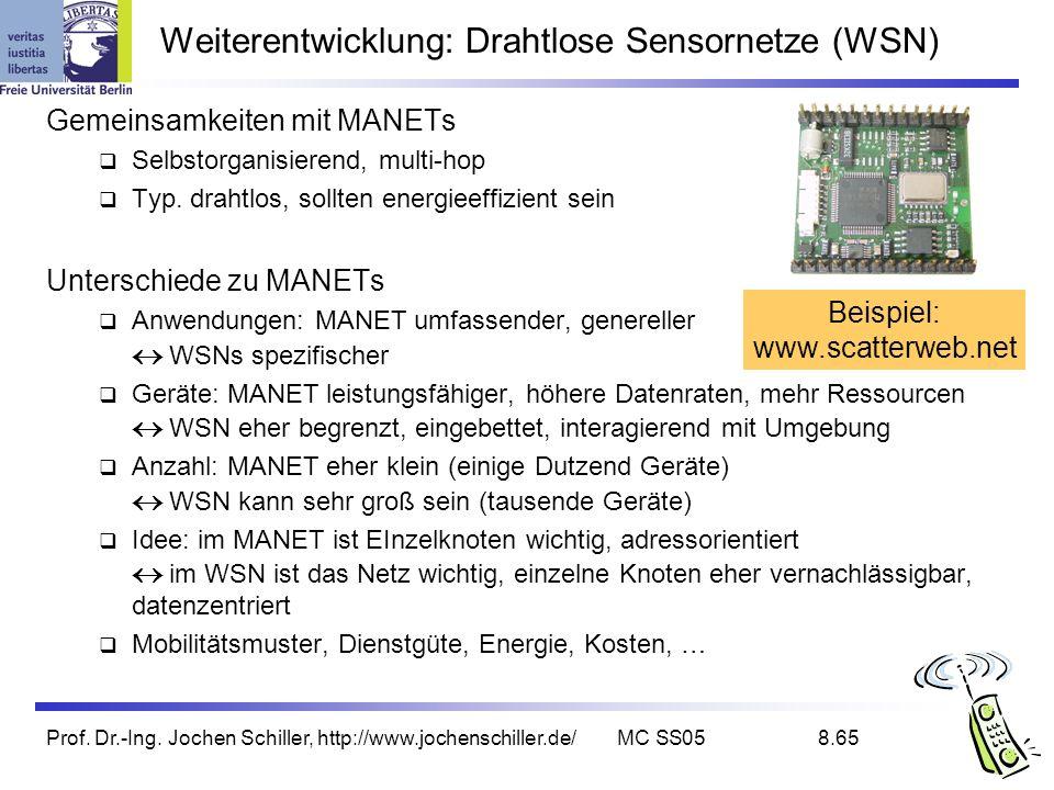 Weiterentwicklung: Drahtlose Sensornetze (WSN)