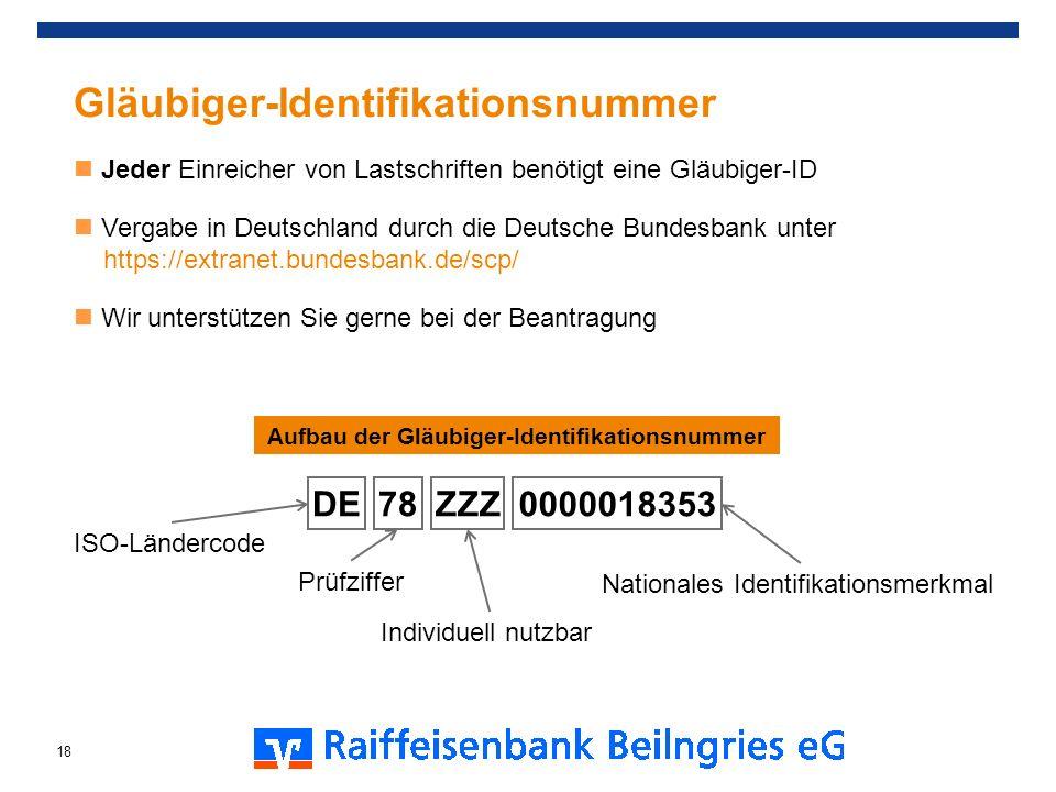 Aufbau der Gläubiger-Identifikationsnummer