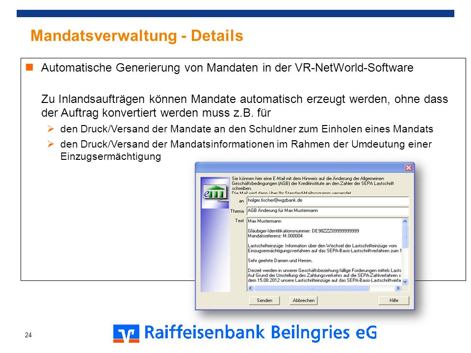 Mandatsverwaltung - Details
