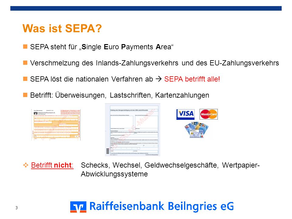 "Was ist SEPA SEPA steht für ""Single Euro Payments Area"