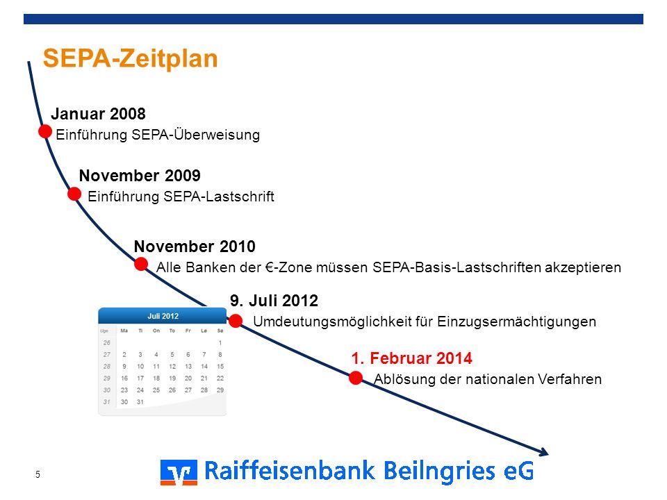 SEPA-Zeitplan Januar 2008 Einführung SEPA-Überweisung November 2009