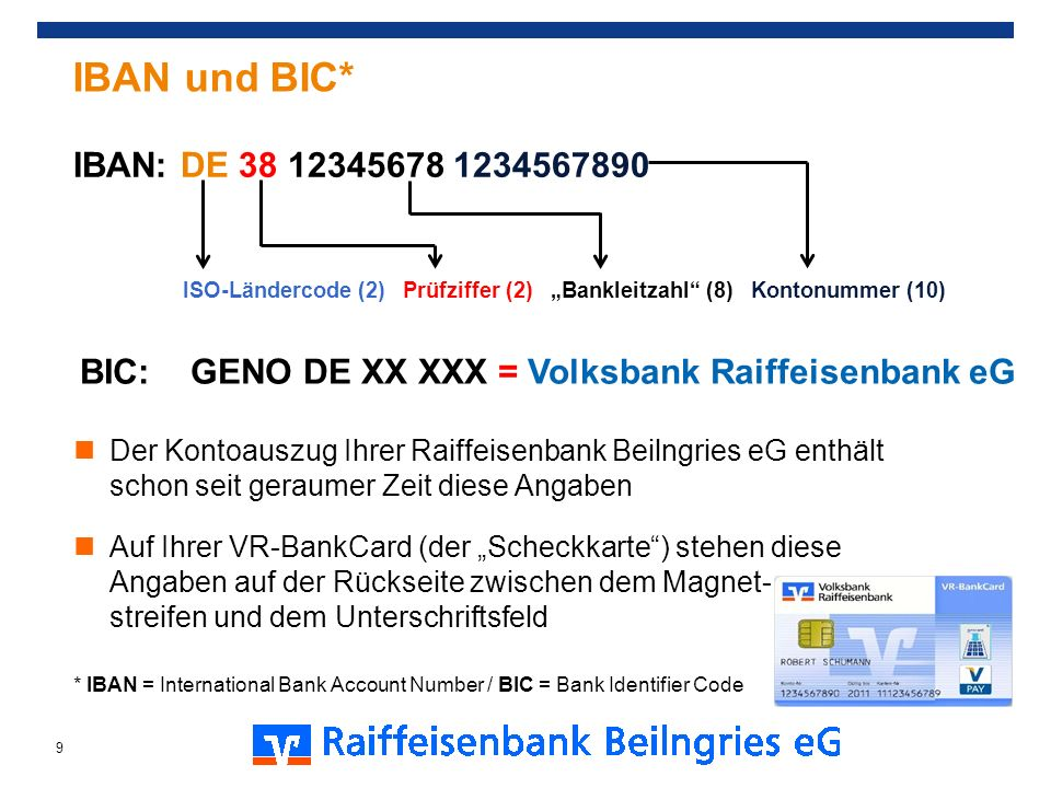 """IBAN und BIC* IBAN: DE 38 12345678 1234567890. ISO-Ländercode (2) Prüfziffer (2) """"Bankleitzahl (8) Kontonummer (10)"""