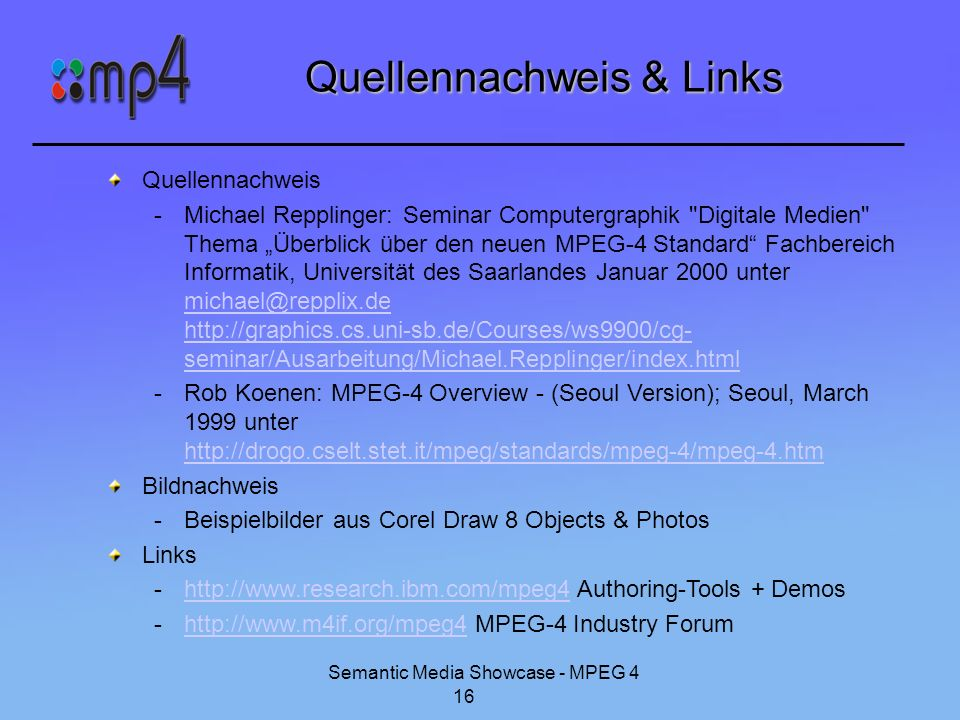 Quellennachweis & Links