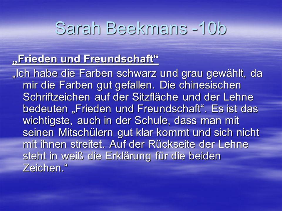 """Sarah Beekmans -10b """"Frieden und Freundschaft"""