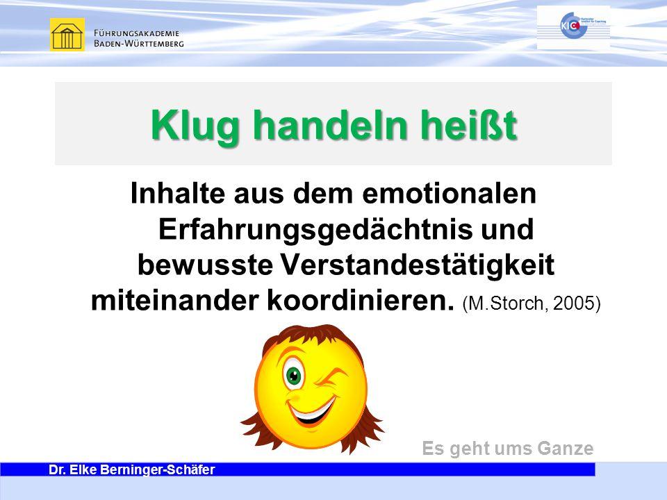 Klug handeln heißt Inhalte aus dem emotionalen Erfahrungsgedächtnis und bewusste Verstandestätigkeit miteinander koordinieren.