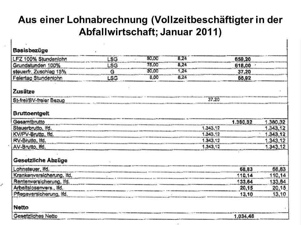 Aus einer Lohnabrechnung (Vollzeitbeschäftigter in der Abfallwirtschaft; Januar 2011)