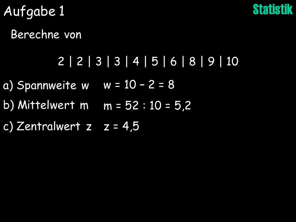 Aufgabe 1 Berechne von 2 | 2 | 3 | 3 | 4 | 5 | 6 | 8 | 9 | 10