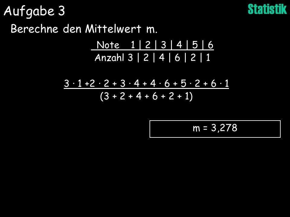 Aufgabe 3 Berechne den Mittelwert m. Note 1 | 2 | 3 | 4 | 5 | 6